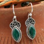 Malachite-Gemstone-Sterling-Silver-Drop-Earrings-for-Women-and-Girls-Bezel-Set-Ear-Wire-Earrings-Green-Bridesmaid-Earr-B08K642Z3Z-2