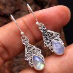 Moonstone-Gemstone-Sterling-Silver-Drop-Earrings-for-Women-and-Girls-Bezel-Set-Ear-Wire-Earrings-White-Bridesmaid-Earr-B08K62JV6B