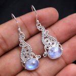 Moonstone-Gemstone-Sterling-Silver-Drop-Earrings-for-Women-and-Girls-Bezel-Set-Ear-Wire-Earrings-White-Bridesmaid-Earr-B08K62QTB5-2