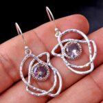Mystic-Topaz-Gemstone-Sterling-Silver-Dangle-Earrings-for-Women-and-Girls-Bezel-Set-Ear-Wire-Earrings-Multi-Colour-Bri-B08K64D676