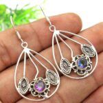 Mystic-Topaz-Gemstone-Sterling-Silver-Drop-Earrings-for-Women-and-Girls-Bezel-Set-Ear-Wire-Earrings-Multi-Colour-Bride-B08K5ZQK4H