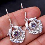 Mystic-Topaz-Gemstone-Sterling-Silver-Fish-Dangle-Earrings-for-Women-and-Girls-Bezel-Set-Ear-Wire-Earrings-Multi-Colou-B08K61XW3V