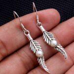 Pearl-Gemstone-Sterling-Silver-Leaf-Drop-Earrings-for-Women-and-Girls-Bezel-Set-Ear-Wire-Earrings-White-Bridesmaid-Ear-B08K61QWG6-2