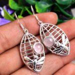 Rose-Quartz-Gemstone-Sterling-Silver-Dragonfly-Web-Drop-Earrings-for-Women-and-Girls-Bezel-Set-Ear-Wire-Earrings-Pink-B08K644J9D