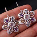 Rose-Quartz-Gemstone-Sterling-Silver-Rangoli-Decoration-Drop-Earrings-for-Women-and-Girls-Bezel-Set-Ear-Wire-Earrings-B08K66D5MY