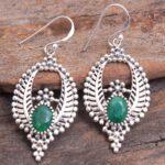 Sakota-Mine-Emerald-Gemstone-Sterling-Silver-Leaf-Drop-Earrings-for-Women-and-Girls-Bezel-Set-Ear-Wire-Earrings-Green-B08K62B3PS-2
