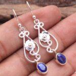 Sapphire-Gemstone-Sterling-Silver-Floral-Drop-Earrings-for-Women-and-Girls-Bezel-Set-Ear-Wire-Earrings-Blue-Bridesmaid-B08K63H3JQ-2