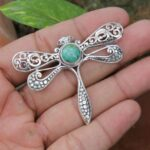 Solid-925-Sterling-Silver-Natural-Turquoise-Pendant-Cum-Butterfly-Brooch-Jewelry-Valentines-Day-Gift-for-Women-Valent-B07N32BNPS