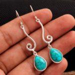 Turquoise-Gemstone-Sterling-Silver-Drop-Earrings-for-Women-and-Girls-Bezel-Set-Ear-Wire-Earrings-Turquoise-Bridesmaid-B08K62BHSY