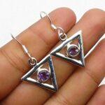 amethyst-Gemstone-Sterling-Silver-Triangle-Drop-Earrings-for-Women-and-Girls-Bezel-Set-Ear-Wire-Earrings-Purple-Brides-B08K644XJT