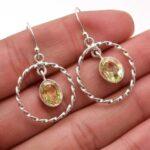 amethyst-Gemstone-Sterling-Silver-Wire-Ring-Dangle-Earrings-for-Women-and-Girls-Bezel-Set-Ear-Wire-Earrings-Green-Brid-B08K616PMB